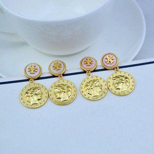 Tory Burch Logo Coin Drop Medallion Earrings
